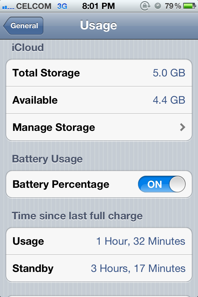 iOS 5 iPhone 4:  Storage Usage