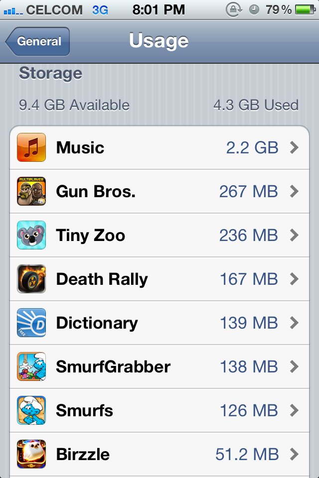 iOS 5 iPhone 4:  Storage Usage2