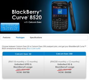 Celcom BlackBerry Curve 8520 promotion