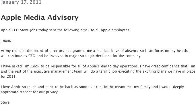 Steve Job On Leave