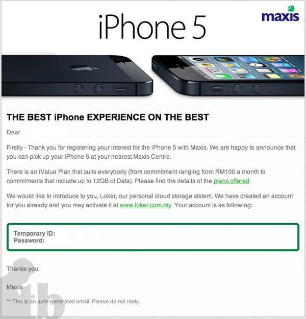 Maxis iPhone 5 Pick up today