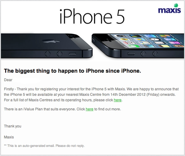 Maxis iPhone 5 follow up email