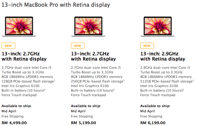 New Pricing and Specs bump: MacBook Pro retina display